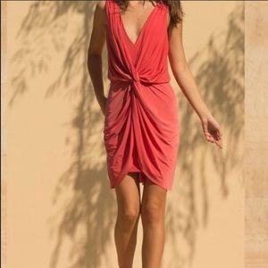 MISA Leza Gathered Sleeveless Crossover Dress Smal
